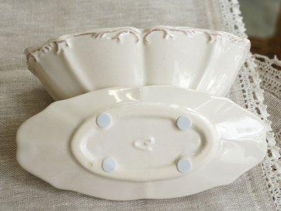 画像2: 【フラワー】アンティーク風 ラウンドベース S/皿付き/陶器/クレイ/Clay/アイボリー