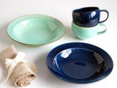画像2: 【作山窯-SAKUZAN-】藍 パスタ皿/リムボウル/日本製/陶器 (2)