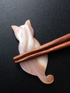 画像6: 【Pearl Collection】猫 しっぽでハート 箸置き セット ねこ桃色 ピンク猫 白猫 ピンクシェル ネコ キャット シェル パール 薄紅貝 貝 (6)