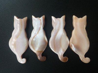画像3: 【Pearl Collection】猫 しっぽでハート 箸置き セット ねこ 黒猫 白猫 ネコ シェル パール 黒水牛 貝
