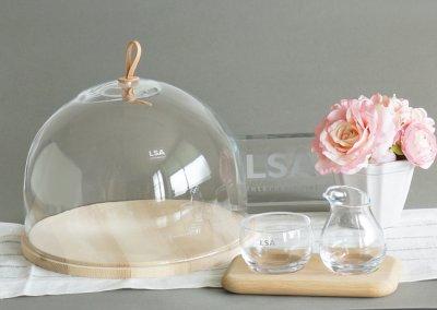 画像1: 【LSA】IVALO  ガラスドーム 320mm/ガラス製/木/ケーキドーム/レザー/DOME&ASH BASE/LSA International /箱入り/ハンドメイド/ポーランド製