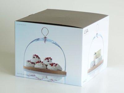 画像3: 【LSA】IVALO  ガラスドーム 320mm/ガラス製/木/ケーキドーム/レザー/DOME&ASH BASE/LSA International /箱入り/ハンドメイド/ポーランド製
