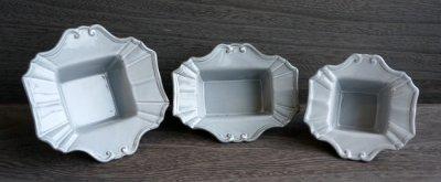 画像1: 【フラワー】Nathalie クラシックベース フレームベース スクエア L/正方形/アンティーク調/グレー陶器/灰色/Clay/クレイ/中国製