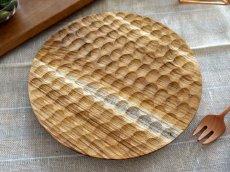 画像1: 【TEAK WOOD】デザインランチプレート ラウンド M 22cm/丸/トレー/プレート/トレイ/チーク材/木製/ウッド/天然木/インスタ (1)