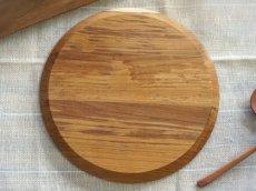 画像4: 【TEAK WOOD】ランチプレート ラウンド M 22cm/カップホルダー/丸/トレー/プレート/トレイ/チーク材/木製/ウッド/天然木/インスタ (4)