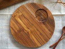 画像3: 【TEAK WOOD】ランチプレート ラウンド L 27cm カップホルダー有り  丸/トレー プレート トレイ チーク材 木製 ウッド 天然木 インスタ (3)