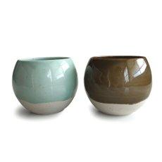 画像1: 【SHIKIKA】ころころ 大 焼酎カップ ハーフ スカイブルー・ブラウン/みず・茶色/カップ/コップ/湯のみ/コロコロカップ/陶器製/日本製 270ml (1)