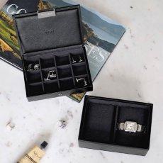 画像6: 【STACKERS】ミニ ジュエリーボックス2セット ブラック ウォッチ&カフスリンク Mini Black Mini Watch & Cufflink Box スタッカーズ ジュエリーケース 重ねる 重なる アクセサリーケース イギリス ロンドン ジュエリー アクセサリー ケース 収納 (6)