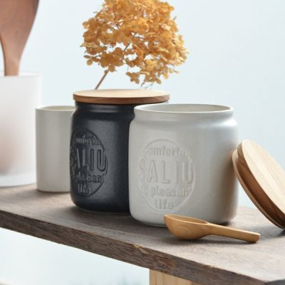 画像2: 【SALIU】キャニスター BS03   2個セット チーク材 ホワイト 白 ブラック 黒 サリュウ 木蓋 陶器 LOLO ロロ 美濃焼 日本製