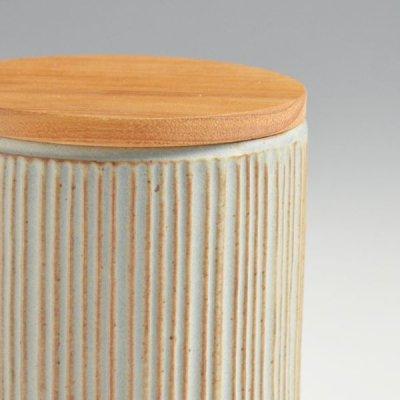画像2: 【SALIU】キャニスター SA00 しのぎ チーク材  削ぎ 木蓋 陶器 LOLO ロロ 美濃焼 日本製