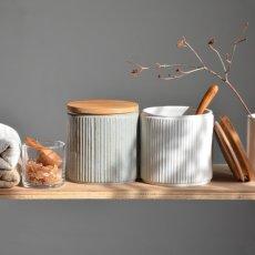 画像2: 【SALIU】キャニスター SA00 しのぎ チーク材  削ぎ 木蓋 陶器 LOLO ロロ 美濃焼 日本製 (2)