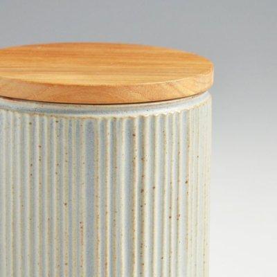 画像1: 【SALIU】キャニスター SA00 しのぎ チーク材  削ぎ 木蓋 陶器 LOLO ロロ 美濃焼 日本製