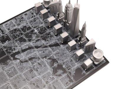 画像1: 【Skyline Chess 】プレミアムメタル ニューヨークエディション チェスセット イギリス製 チェス 木製ボード ウッド スカイラインチェス PREMIUM METAL NEW YORK EDITION トイ オブジェ インテリア お洒落 おしゃれ かっこいい モダン ギフト ボードゲーム