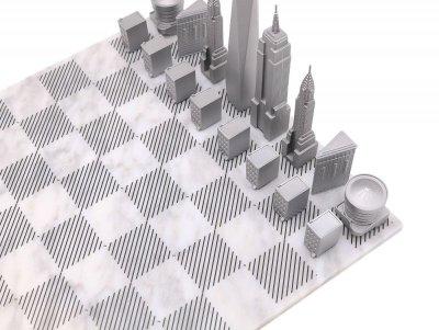 画像2: 【Skyline Chess 】プレミアムメタル ニューヨークエディション チェスセット イギリス製 チェス 木製ボード ウッド スカイラインチェス PREMIUM METAL NEW YORK EDITION トイ オブジェ インテリア お洒落 おしゃれ かっこいい モダン ギフト ボードゲーム