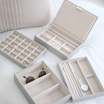 画像1: 【STACKERS】ジュエリーボックス Lid ペブルグレー gray グレイ グレー 蓋つき /ジュエリーケース/重ねる/重なる/アクセサリーケース/グレー/グレイ/イギリスデザイン/ロンドン/JEWELLRY BOX