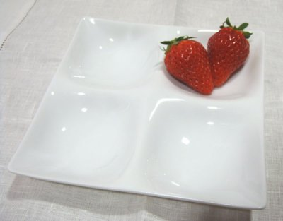 画像1: 【BLANC】カルテット 17cm/コワケ/小分け プレート/四つ仕切り皿