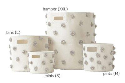 画像1: 【Pehr】ペア  ポンポンストレージ Hamper (XXL) 布製ストレージ キャンパス地 物入れ おもちゃ入れ 収納 バッグ インド製 カナダ