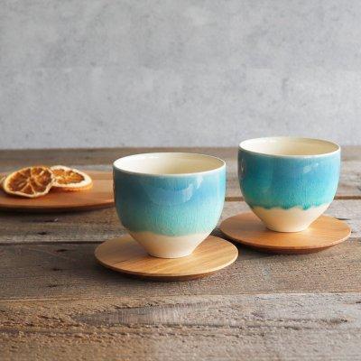 画像3: 【SAKUZAN】-藍- グラデーション 碗 茶碗 ターコイズ ボール カップ お碗 作山窯 日本製 美濃焼 釉薬 涼しげ