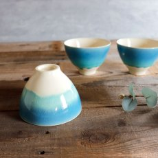 画像3: 【SAKUZAN】-藍- グラデーション 碗 茶碗 ターコイズ ボール カップ お碗 作山窯 日本製 美濃焼 釉薬 涼しげ  (3)