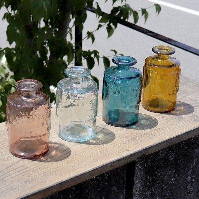 画像1: 【VALENCIA RECYCLE GLASS 】インテリア ガラスボトル ベース 花瓶 フラワーアレンジント 花器  BLUE PURPLE AMBER スペイン製 アンティーク風 100% リサイクルガラス レトロ