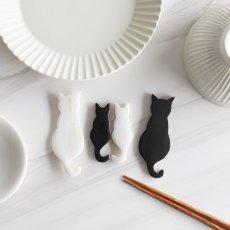 画像1: 【Pearl Collection】親子猫セット 箸置き カトラリーレスト 大きな猫 ねこ 黒猫 ネコ 黒水牛 水牛角 シェル 貝 (1)