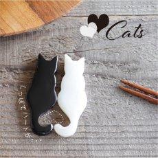 画像1: 【Pearl Collection】猫 しっぽでハート 箸置き セット ねこ 黒猫 白猫 ネコ シェル パール 黒水牛 貝 (1)