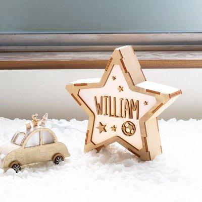 画像1: 【VINTIUN】ビンティウン スタールームライト  ウッドプレート デコレーションパーツ カスタマイズ オリジナル 子供部屋 出産祝い