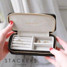 画像2: 【STACKERS】トラベルジュエリーボックス M Black&Grey/英国/スタッカーズ/ジュエリーケース/ブラック&グレイ/Taupe/アクセサリーケース/イギリス/ロンドン/ジュエリーボックス/トラベル/ジュエリー/アクセサリー/ケース/収納 (2)
