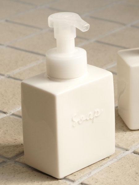 画像1: 【Bolck】フォームボトル/ムースボトル/ディスペンサー/ブロック/スクエア/キューブ/泡ポンプ/陶器/日本製 (1)