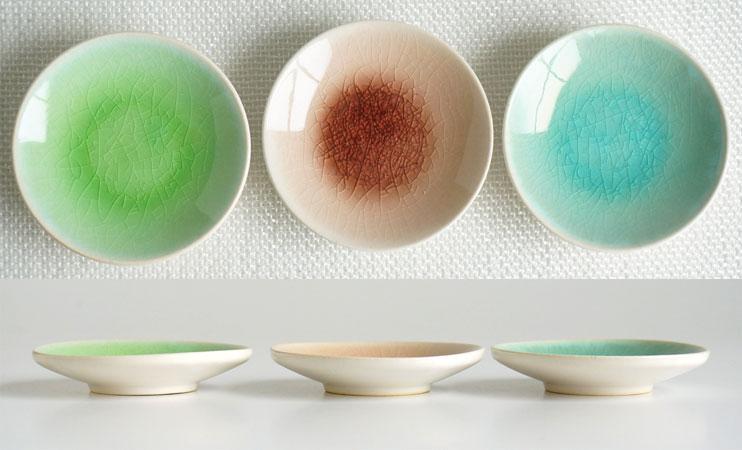 画像1: 【SAKUZAN】-彩-  豆皿 ローズ/トルコ/グリーン/プレート/小皿/しょうゆ皿/作山窯/日本製 (1)