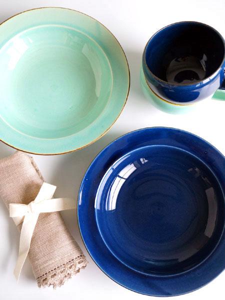 画像1: 【作山窯-SAKUZAN-】藍 パスタ皿/リムボウル/日本製/陶器 (1)