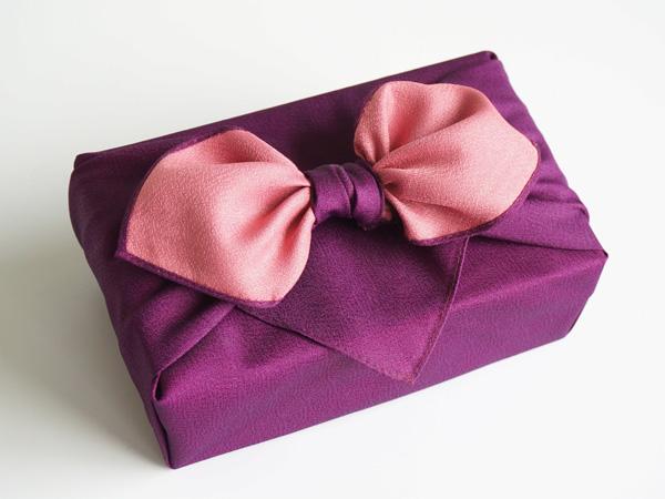 画像1: 【風呂敷】紫・桜 /ふろしき/リバーシブル/無地 (1)