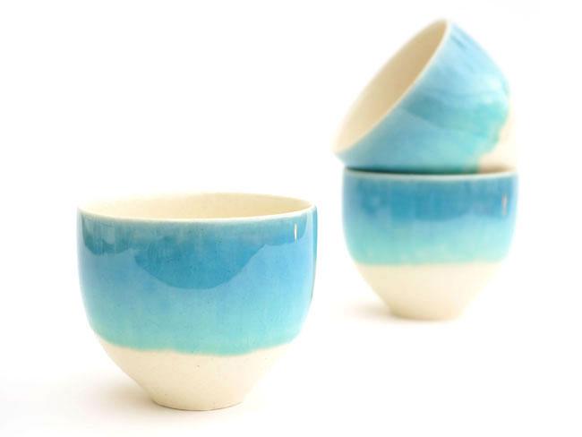 画像1: 【SAKUZAN】-藍- カップ ブルーグラデーション/ターコイズ/ミント/湯呑み/コップ/ミニカップ/カップ/作山窯/日本製 (1)