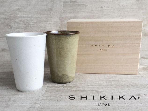 画像1: 【SHIKIKA】麦酒かっぷギフト/桐箱/ビアタンブラー/陶器製/日本製/2個セット/320ml (1)