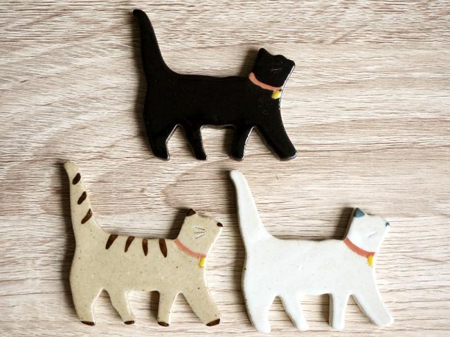 画像1: 【Chopstick rest】猫 箸置き/ねこ/白猫/黒猫/トラ猫/ネコ/キャット/レスト/陶器/日本製 (1)