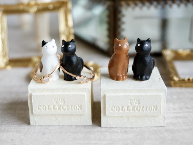 画像1: 【Neco】リングスタンド ダブル ネコc指輪置き/猫/ねこ/キャット/cat/ティーズコレクション T's COLLECTION (1)