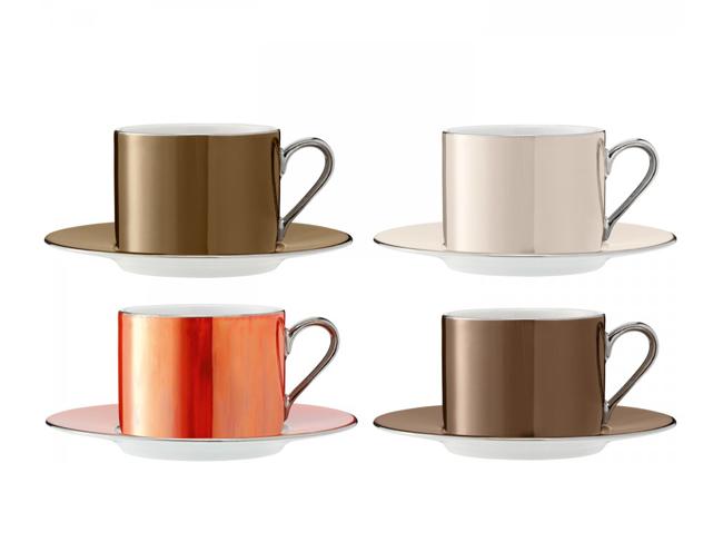 画像1: 【LSA】POLKA カップ&ソーサーL 250ml/メタリック/コーヒーカップ/ティーカップ/4個セット/LSA International /箱入り/ハンドメイド/ポーランド製 (1)