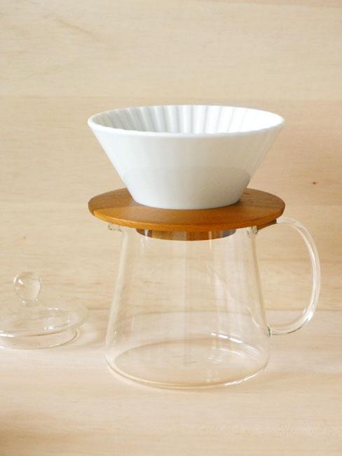 画像1: 【ORIGAMI】ドリッパー 丸セット  Dripper M  ドリッパー ドリッパーホルダー コーヒーサーバー ホワイト White あめ 茶 木製 ガラス製 陶器 磁器 日本製 (1)