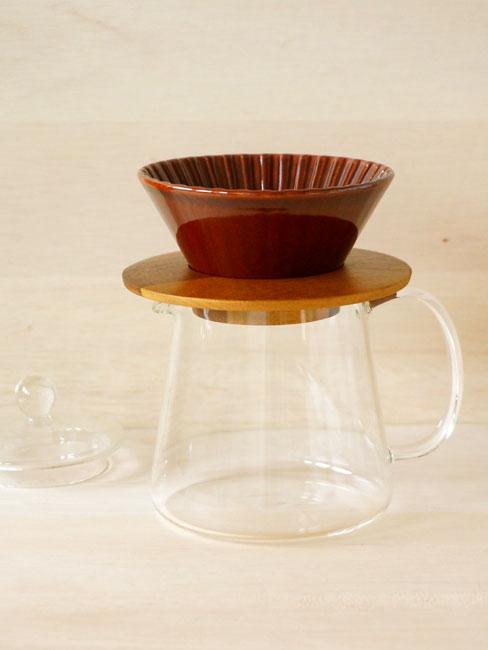 画像1: 【Dripper】ドリッパー 丸 Sセット  ドリッパー ドリッパーホルダー コーヒーサーバー ブラウン アメ あめ 茶 木製 ガラス製 陶器 磁器 日本製 (1)