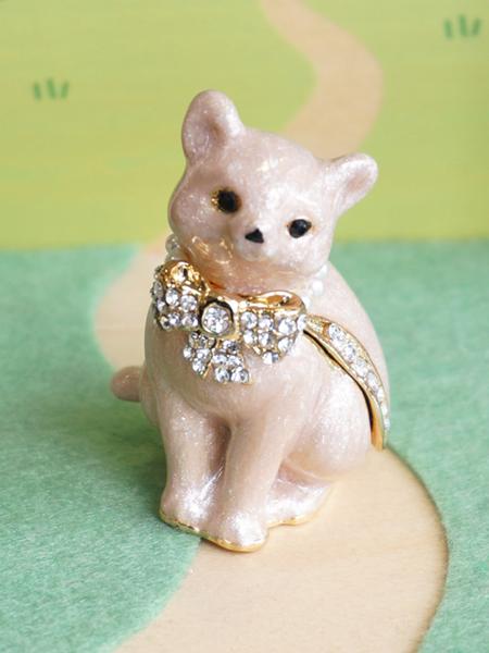 画像1: 【ピィアース】ピンクキャット/ ジュエリーボックス/宝石箱/仔猫/ねこ/cat/リボン (1)