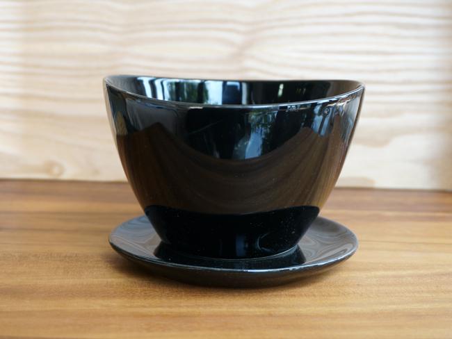 画像1: 【フラワー】Nat.with saucer ミニプランター ブラック L 皿付き/陶器/クレイ/Clay/ラウンド/黒 (1)