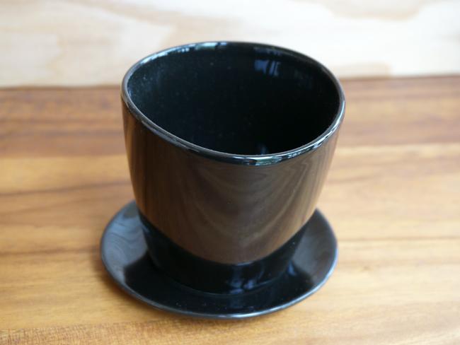 画像1: 【フラワー】Nat.with saucer ミニプランター ブラック S 皿付き/陶器/クレイ/Clay/ラウンド/黒 (1)