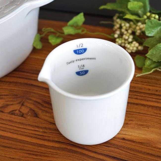 画像1: 【smart mini kitichen】おりょうりカップ100 1/2カップ/100ml/料理カップ/ビーカー/計量カップ/白磁器/100ml/日本製 (1)