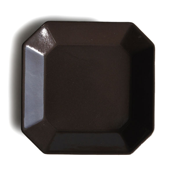 画像1: 【Des-pres】デ・プレ スクエアプレート チョコ S 12cm/チョコ/ブラウン/茶色/チョコレート/プレート/八角/四角/黒土/グレイ/クラシカル/取り皿/お皿/小皿/陶器/日本製 (1)