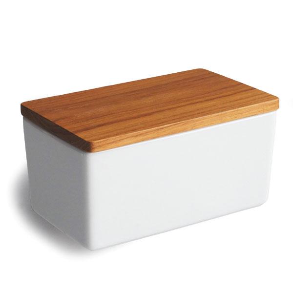 画像1: 【B STYLE KITCHEN】バターケース 450g/バターボックス/木葢/日本製/木製/チーク材/陶器/白磁/磁器/LOLO (1)