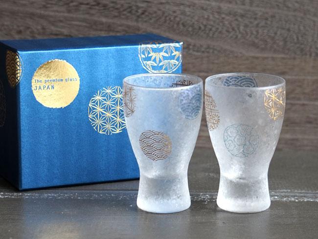画像1: 【THE Premium NIPPON Taste】枡酒グラス 丸紋 ペア 2個販売/ガラス/日本酒グラス/ガラス食器/ギフト/プレゼント/記念日/お祝い/石塚硝子 (1)