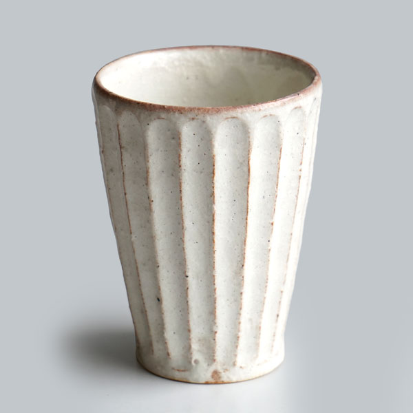 画像1: 【加藤仁志】ビアタンブラー 削ぎ/ビアカップ/タンブラー/麦酒/コップ/カップ/作家/粉引き/陶器  (1)