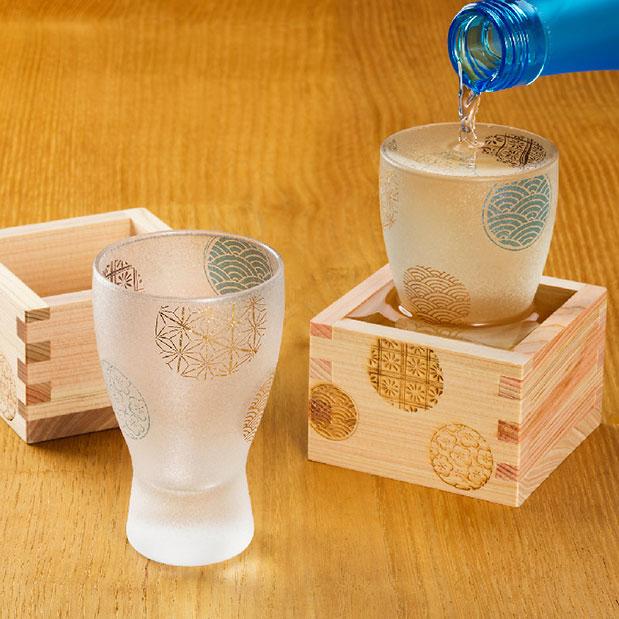 画像1: 【THE Premium NIPPON Taste】枡酒グラス 丸紋 1個販売/ガラス/日本酒グラス/ガラス食器/ギフト/プレゼント/記念日/お祝い/石塚硝子 (1)