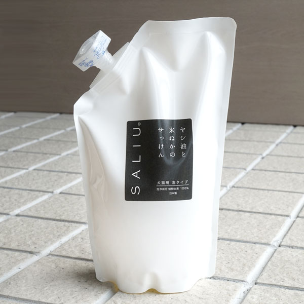 画像1: 【SALIU】ヤシ油と米ぬかのせっけん 犬猫用せっけん詰め替え 500ml/日本製/ペット シャンプー/泡ボトル/動物に優しい/手肌に優しい/地球に優しい/eco (1)
