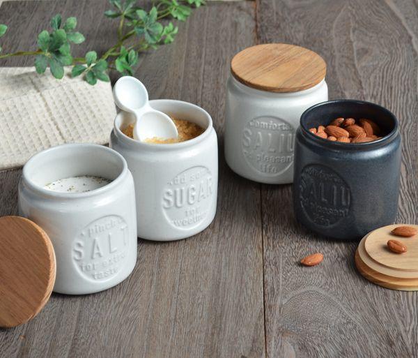 画像1: 【SALIU】キャニスター BS03 チーク材 ホワイト 白 ブラック 黒 サリュウ 木蓋 陶器 LOLO ロロ 美濃焼 日本製 (1)